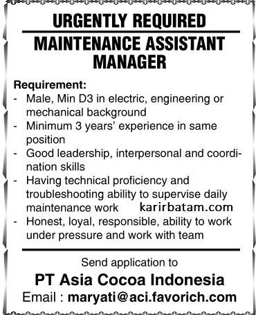 Lowongan Kerja PT. Asia Cocoa Indonesia