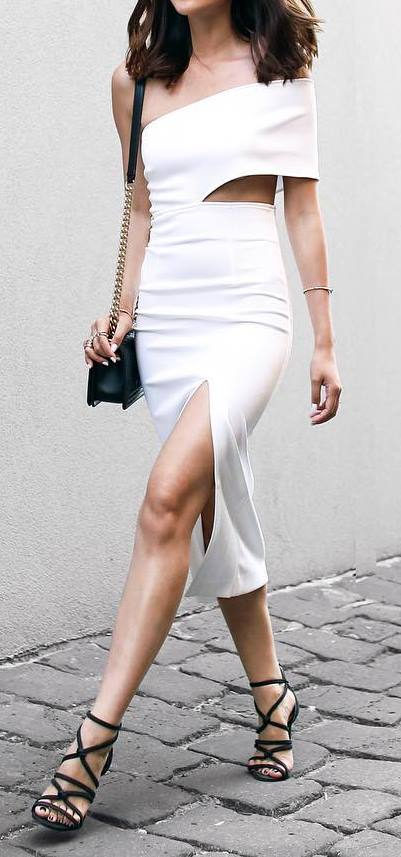 white and black outfit idea: dress + bag + heels