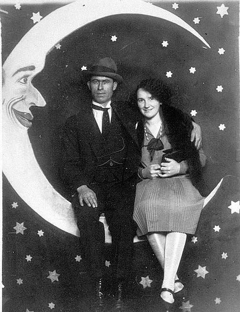 Margaret Ballardini & Fred Watson, Luna Park, St Kilda, Victoria, ca. 1927. Photographed by M D True, Electric Studio.