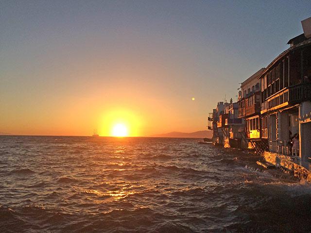 Pôr-do-sol em Little Venice, Mykonos