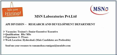 MSN Laboratories - Urgent Walk-in interviews for Freshers and Experienced - R&D