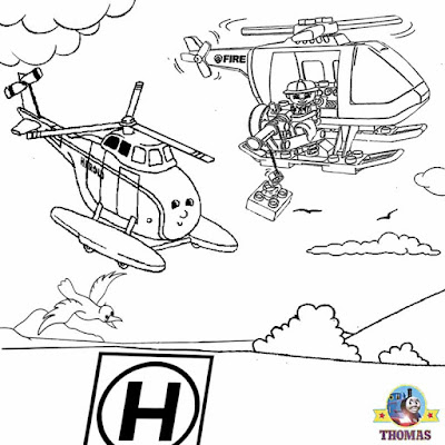 Harold the helicopter Thomas train transport image working pictures to color printable coloring book