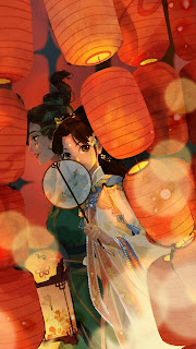 Suzhen and Xiaoqing attend a lantern festival together