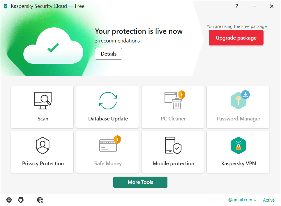 Kaspersky Security Cloud Main Interface Screenshot