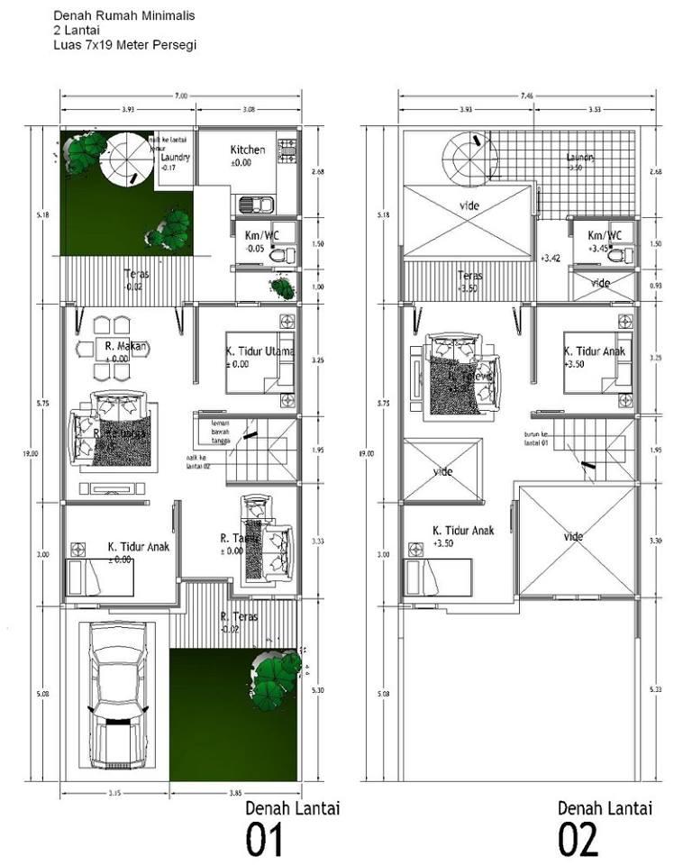 40 Contoh Denah Rumah Minimalis Beserta Ukurannya Disain Kita Gambar