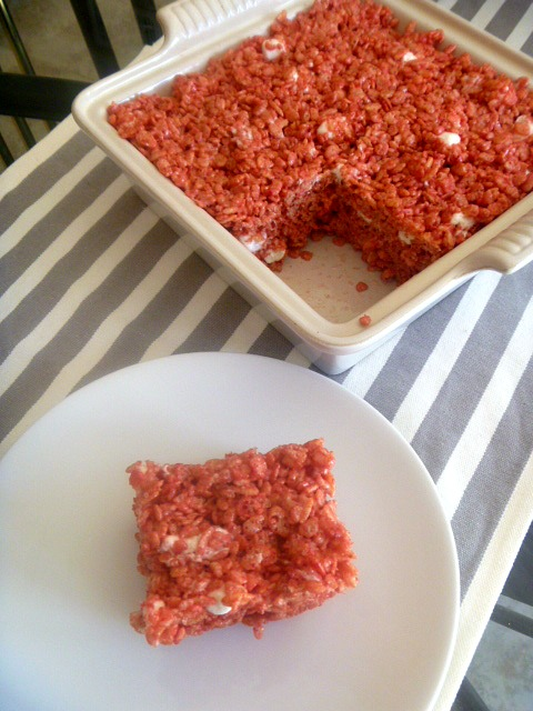 Wonderfully sweet and gooey rice krispie treats that are bursting with strawberry flavor. - Slice of Southern