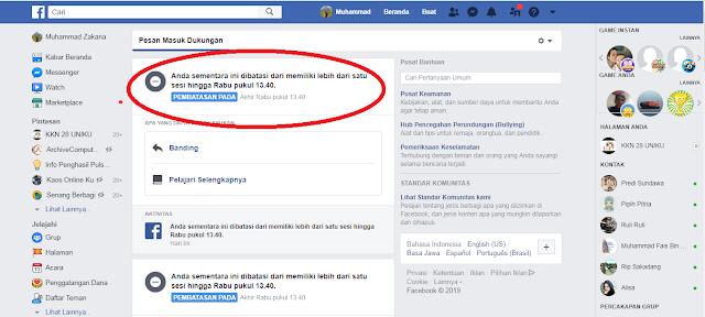 Cara Mengatasi Facebook diblokir sementara tidak bisa like dan komentar status
