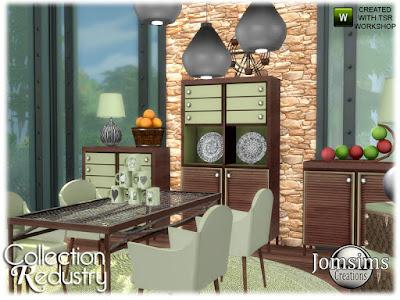 redustry dining room столовая для The Sims 4 стол. DiningC Hair.3 Мебель. беспорядок деко. потолочный светильник. Сочетание дерева, металла, пастельных цветов. Автор: jomsims