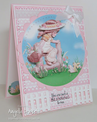 ODBD Custom Fence Die, ODBD Doily Blessings, A Pair of Bunnies Digi Card Kit by Flower Soft, Card Designer Angie Crockett