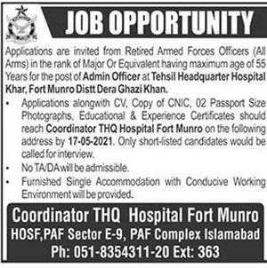 THQ Hospital Fort Munro Jobs 2021 Job Advertisement