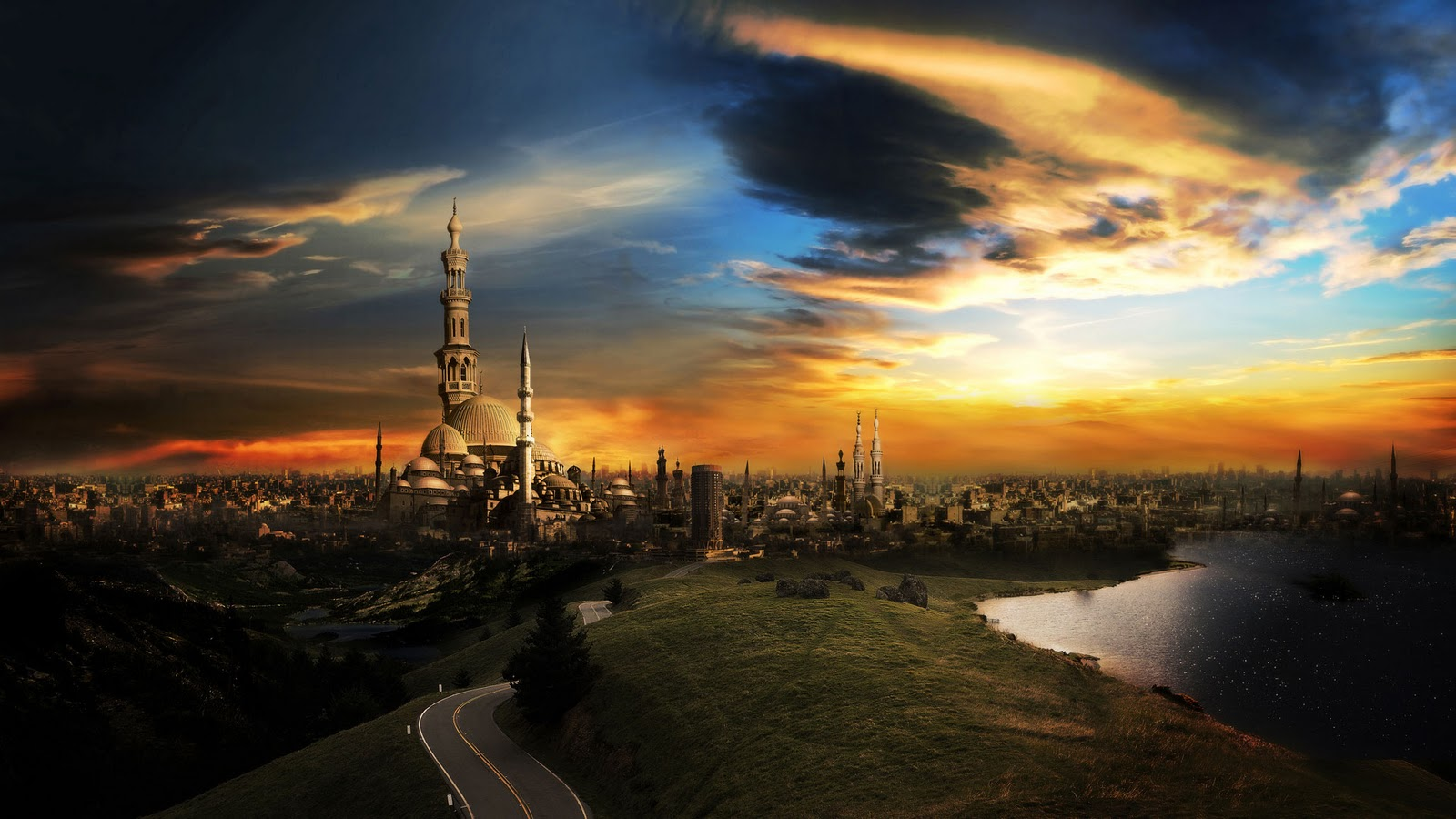 city Sunset high definition
