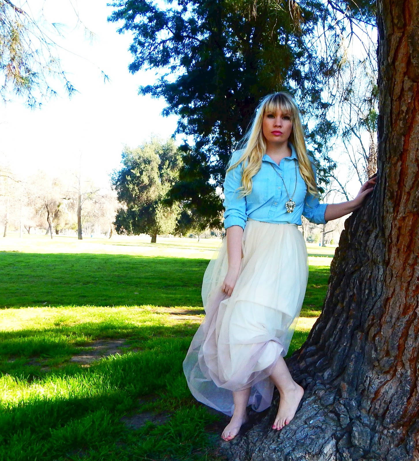 Chambray Top with Tulle Skirt Outfit