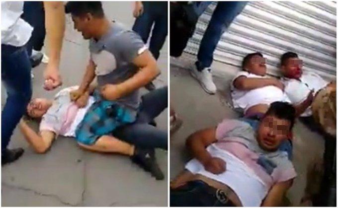 """Video: """"¡Dale en su madre por pin... ratero!"""", así fue como comerciantes les dieron unas caricias a 3 ratas que agarraron en Cuautitlán"""