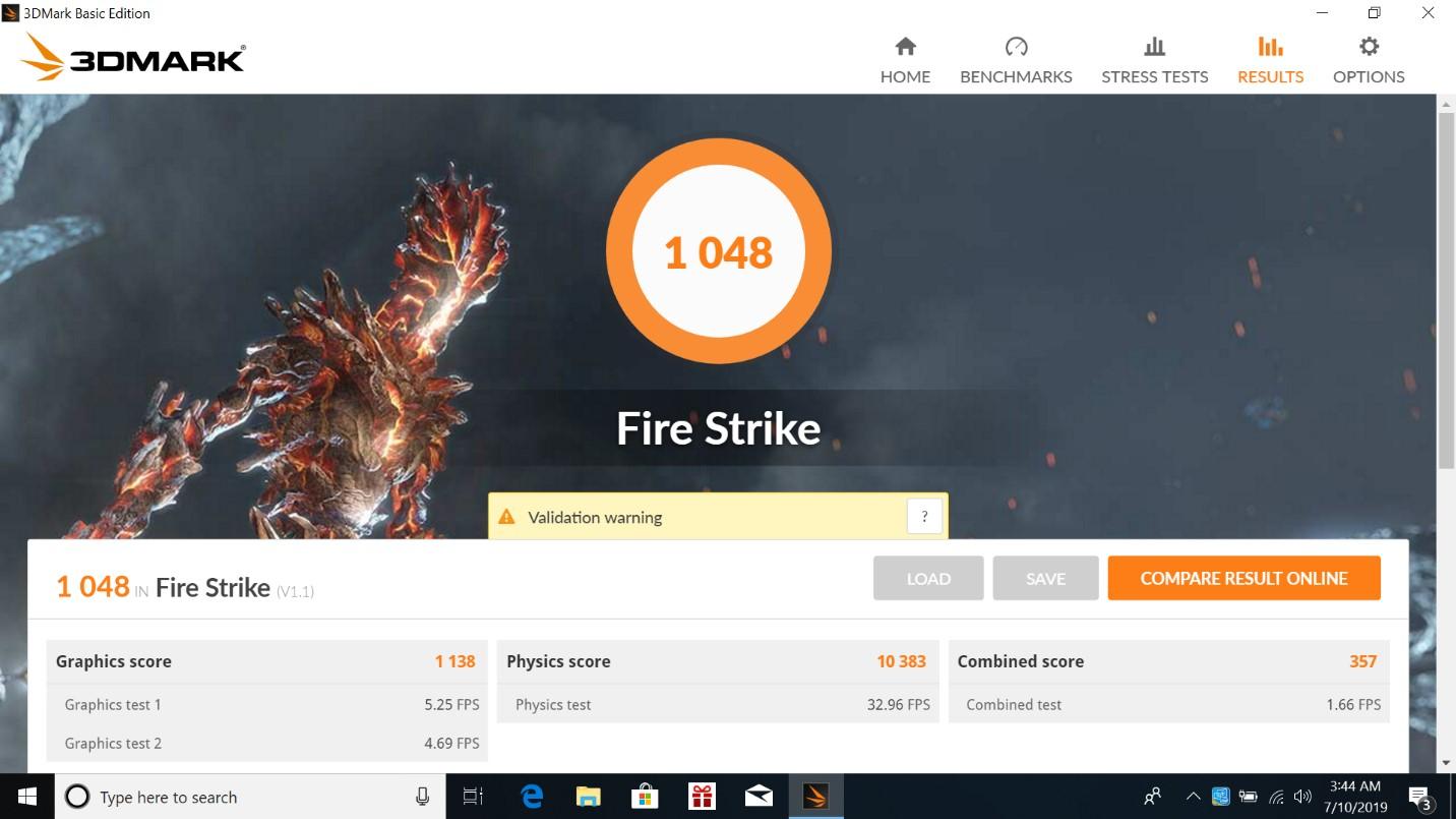 Benchmark 3DMark Fire Strike Asus Pro P5440FA