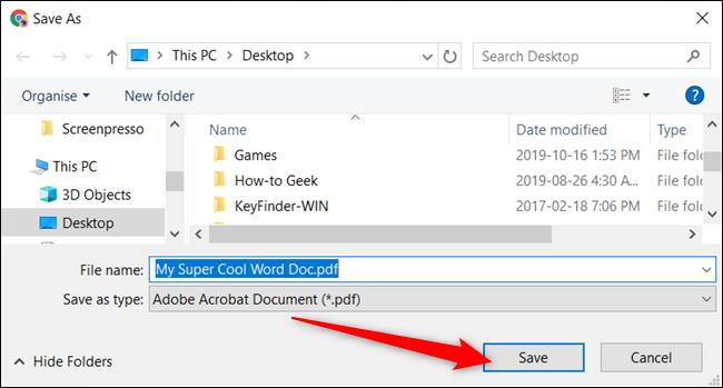 """اختر وجهة للملف على محرك الأقراص المحلي الخاص بك ، ثم انقر فوق """"حفظ"""" لتحويل المستند إلى تنسيق PDF."""