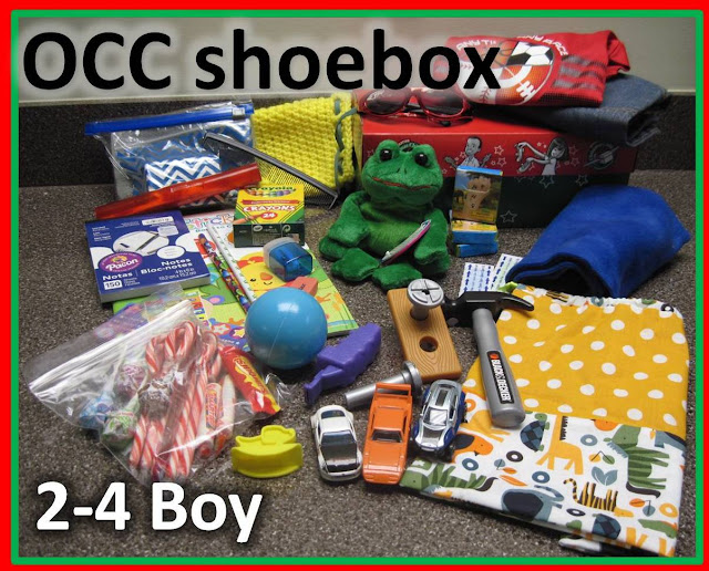 Operation Christmas Child shoebox for a 2 to 4 year old boy.
