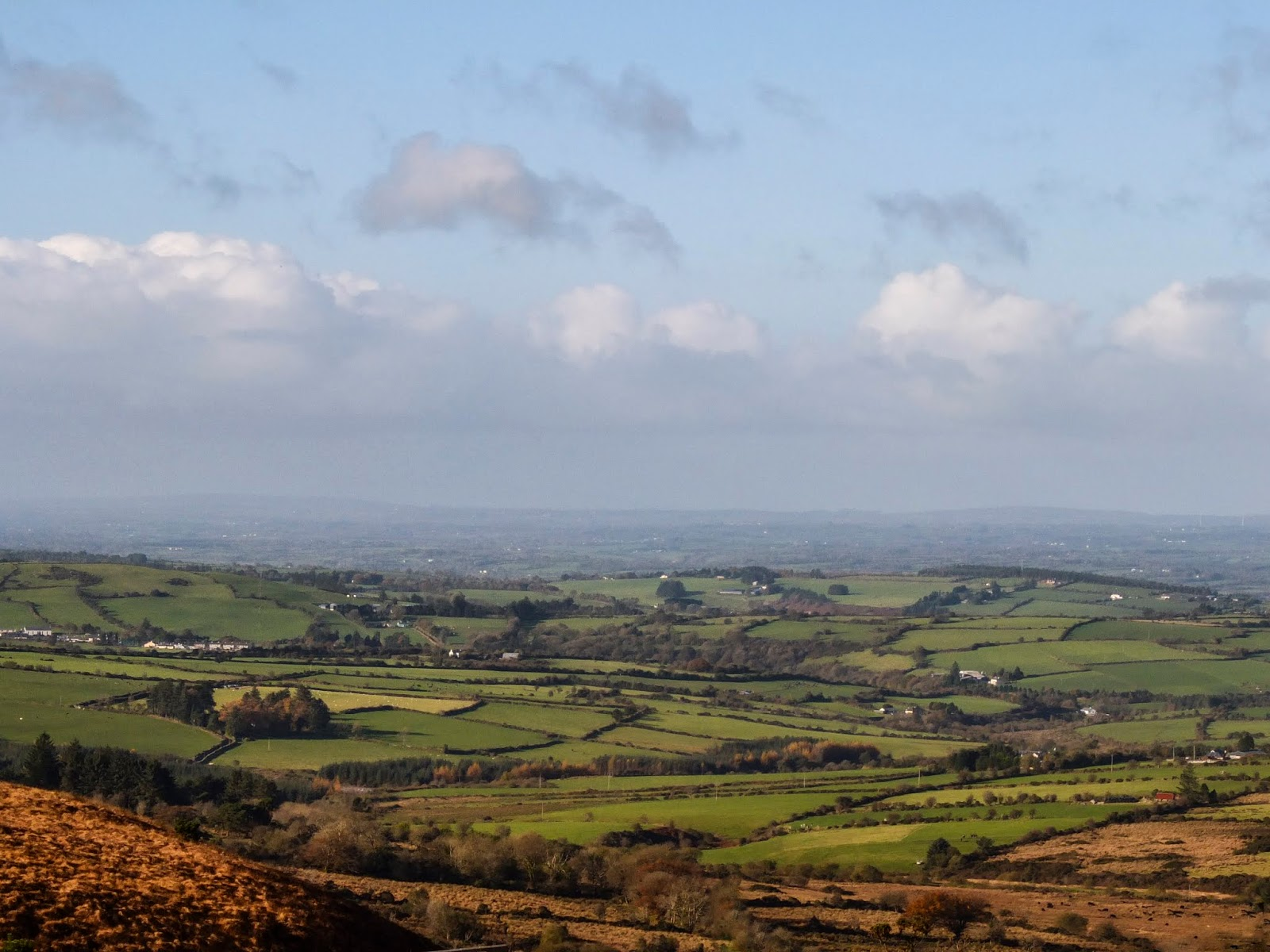 Landscape of a valley in North Cork on a sunny November day.