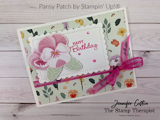 Stampin' Up!®s brand new (sneak peek) Pansy Patch Bundle and Pansy Petals Designer Series Paper!  Measurements and supply list on the blog. #StampinUp #StampTherapist #PansyPatch