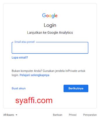 3. Login untuk akses ke Google Analytics