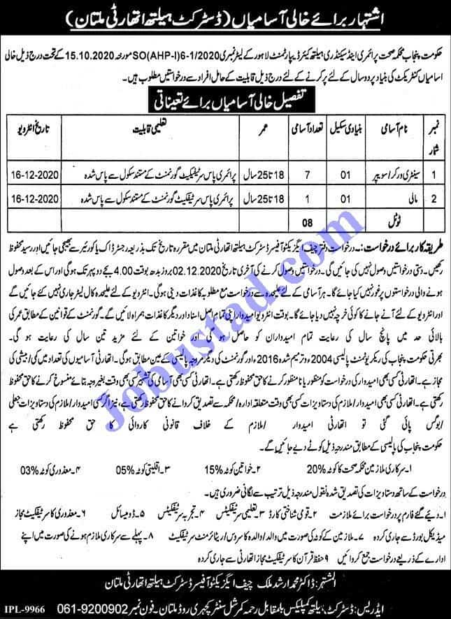 Jobs In District Health Authority (Dha) Multan Nov 2020