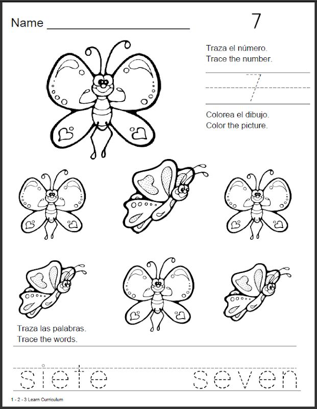 Spanish Number Coloring Pages