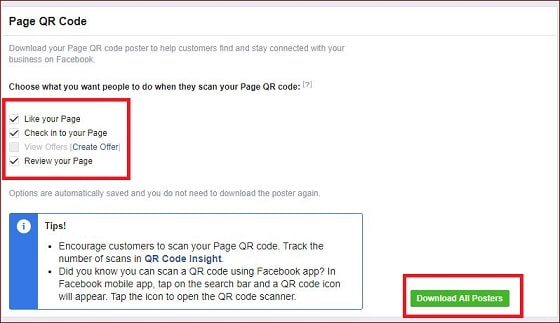 How to create qr code for Facebook page