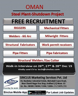 Free Recruitment for Steel Plant in Oman