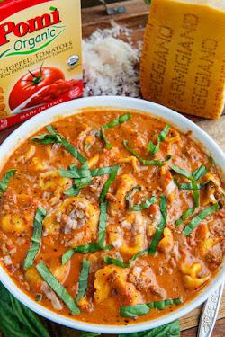 Beefy Tortellini Tomato Soup