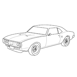 line drawing 1968  pontiac firebird carblack and white outline