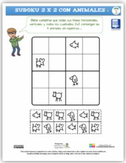 Sudoku 2 x 2, con animales.