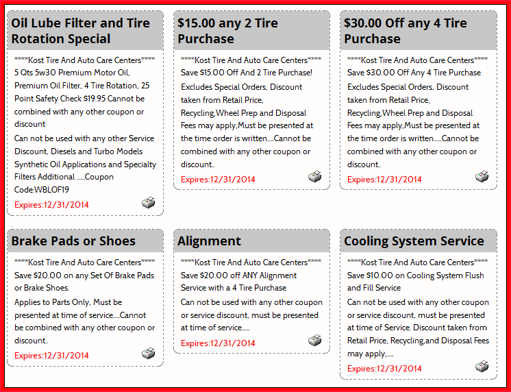 Kost Tire Coupons