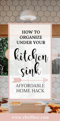 Under the Kitchen Sink | Learn how to organize under your kitchen sink so that you can easily find your cleaning product. These tips are perfect for Moms and busy women who are on a budget and short on time. Organizing cleaning supplies | cleaning supplies storage | organization ideas | organize kitchen cabinets #cleaning #organization #kitchen #kitchensink #clean #howto