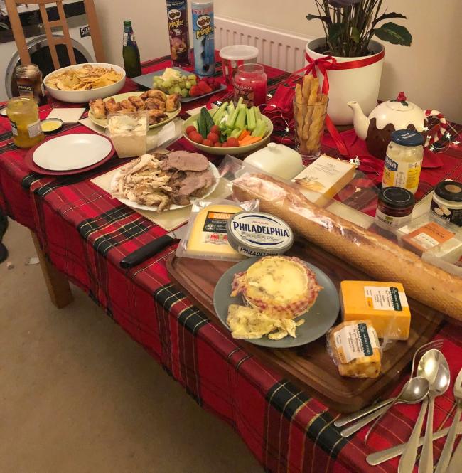 Buffet of picnic food