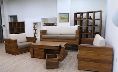 Desain kursi tamu minimalis modern dari kayu