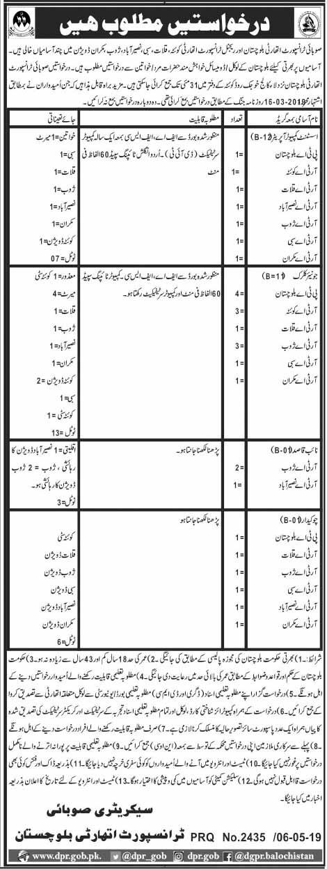 Transport Authority Balochistan 08 May 2019 Jobs