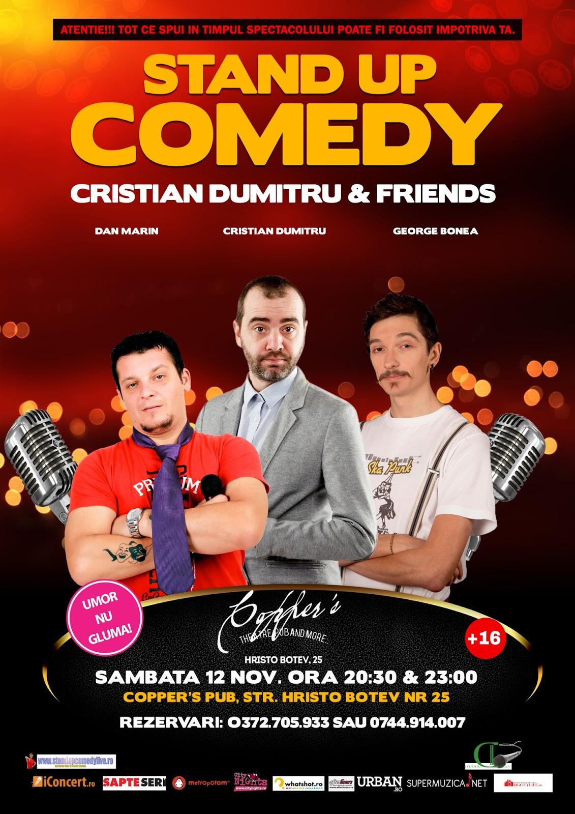 Stand-up Comedy Sambata 12 Noiembrie Bucuresti | doua showuri