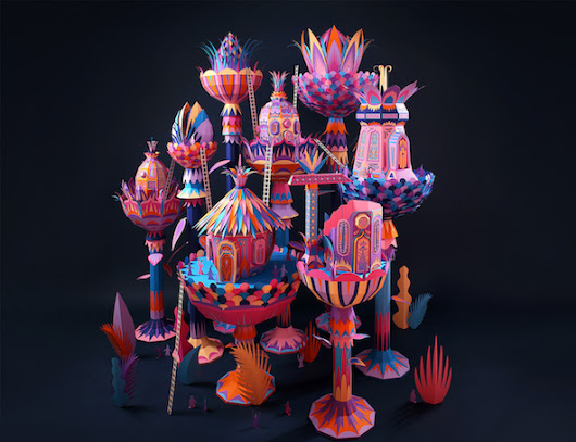 Fantastic Miniature Worlds Bursting with Color for Hermès Window Display
