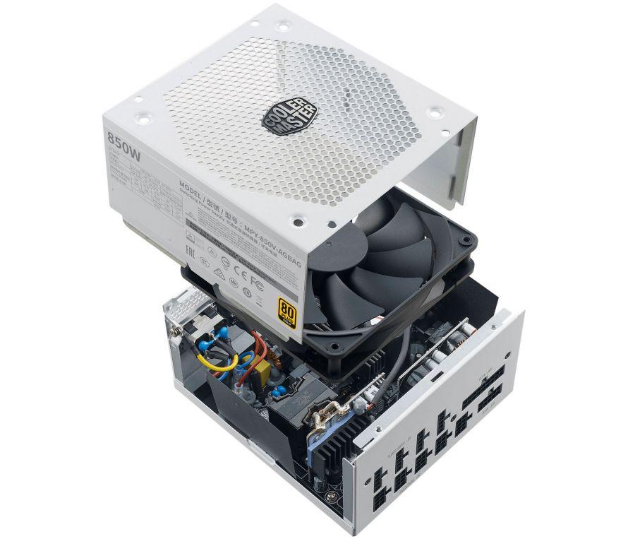 Cooler Master V850 Gold V2 White Edition İç yapı ve fan