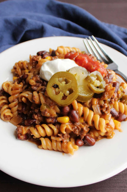 Make your whole dinner in one pot and in about a half hour.  This taco pasta is quick, easy and full of veggies. It is a complete meal and there's only one pot to clean!