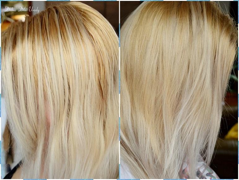 Włosy przed myciem i po myciu z użyciem kremu wzmacniającego kolor Vanilla Blonde