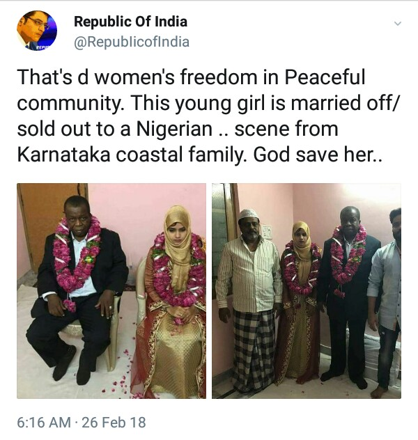 15-year-old Indian girl married off to an old Nigerian man.<script type=