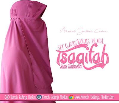 Model Jilbab Cadar Tali Set Gamis Tsaqifah Peach