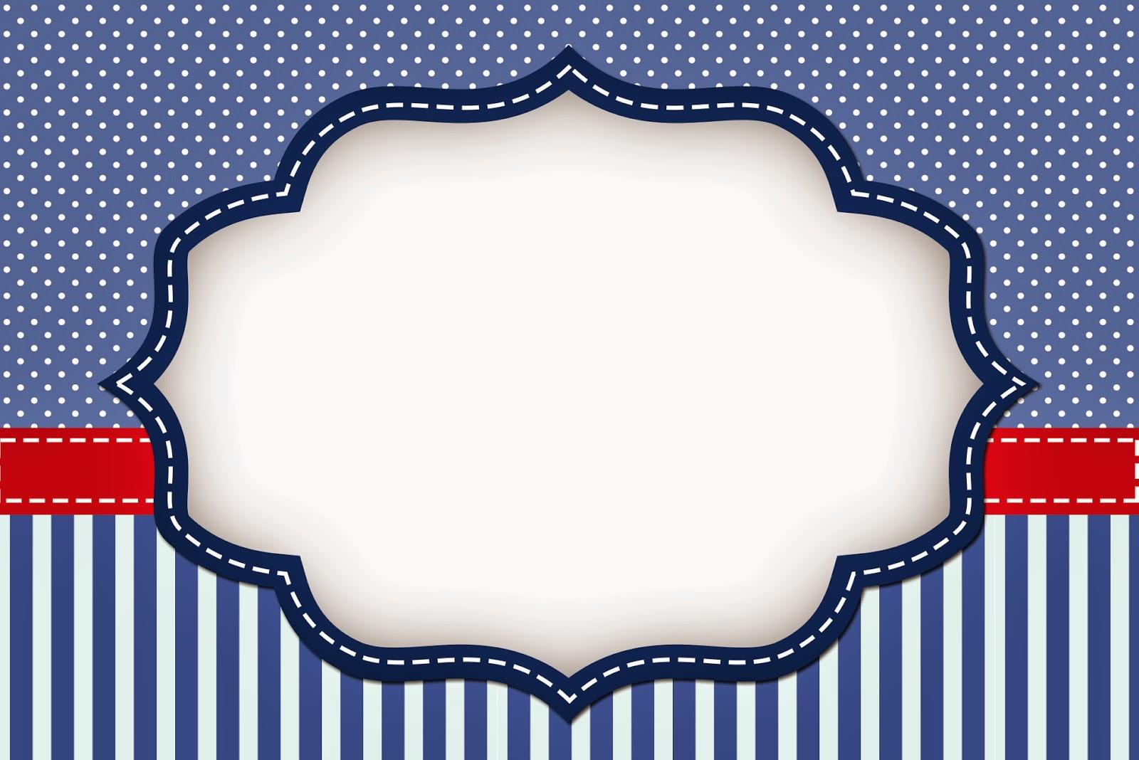 Rayas Azules Y Puntos Blancos: Invitaciones Para Imprimir