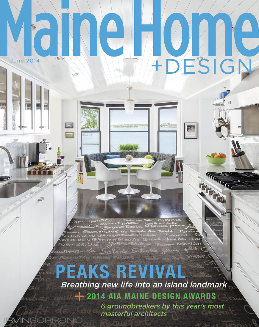 Residential home with galley style kitchen on Peaks Island, Maine is featured in Maine Home and Design Magazine and shot by Irvin Serrano Photography.