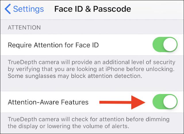 """قم بتبديل مفتاح """"Attention Aware Features"""" إلى الوضع """"ON""""."""