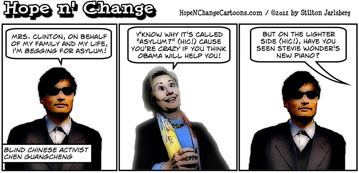 Blind Chinese dissident Chen has been thrown to the wolves by Hillary Clinton and Barack Obama, hopenchange, hope n' change, hope and change, stilton jarlsberg, conservative, political cartoon, tea party