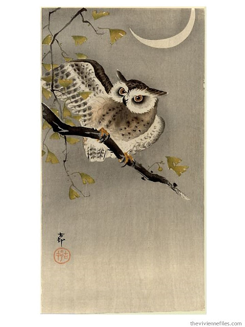 Owl on Ginko Branch by Ohara Koson