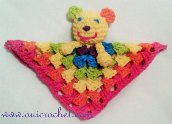 Crochet, Free Crochet Pattern, Crochet Toys, Crochet Lovey, Classic Granny Square, Mini Rainbow Bear Lovey, Mini Rainbow Cat Lovey,