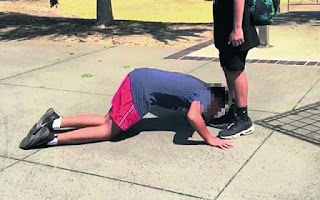 A 12-year-old boy was forced to kiss the shoe of his classmate in the fears he would get beaten up (pictured)
