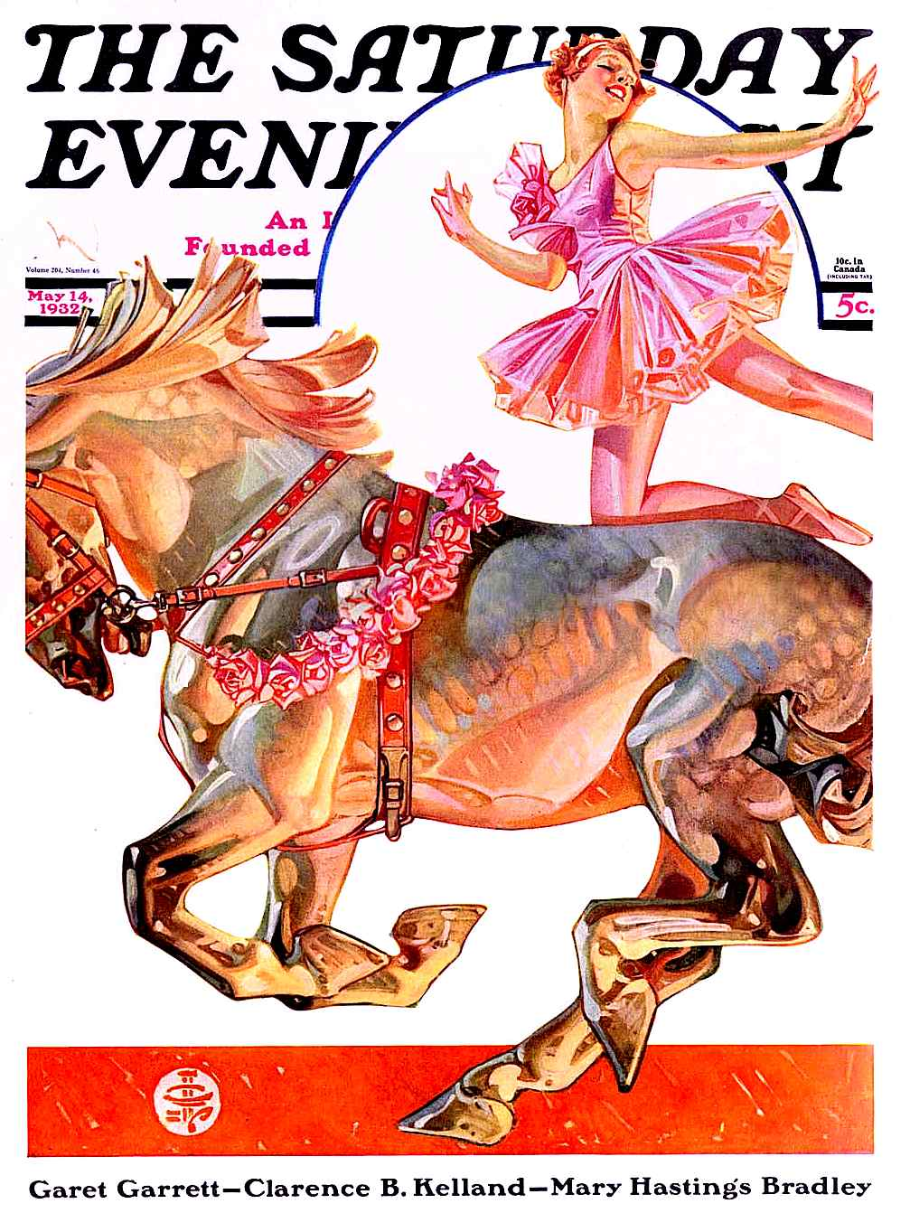 a Joseph Christian Leyendecker illustration of a circus equestrian for The saturday Evening Post May 14 1932